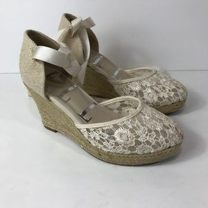 ELLE Lace Wedge Shoes with Ankle Ties Strappy